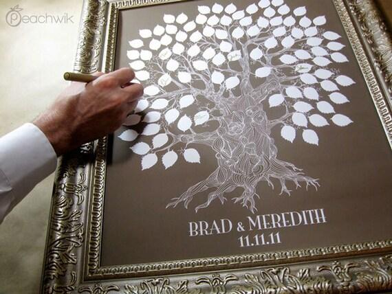 Guest Book Alternative - The Oakwik - A Peachwik Interactive Art Print - 100 guest sign in - Wedding Oak Tree Rustic Guest book Print