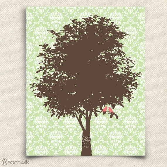 Personalized Anniversary Gift - The Damawik - A Peachwik Art Print Keepsake Housewarming Gift - Family Art Print - Birds in a Tree