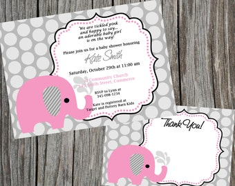 COMBO Special:  Pink Elephant and Dots Baby Shower Invitation and Thank You Card,  Printable Shower invitation and thank you card