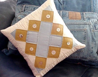 Patchwork Quilted Pillow Cover Vintage Quilt Block Cottage Chic Home Decor itsyourcountry