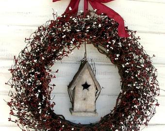 BIRDHOUSE Wreath-Summer Door Wreath-Country Red & Cream Birdhouse Wreath-Autumn Wreath-Country Home Decor-Housewarming Gift-Custom Made USA