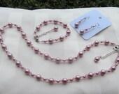 Bridesmaid Jewelry Set Rose Pink Swarovski Crystals and Pearls Bridal Jewelry Set
