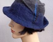 Retro hat dark blue and dark grey felt cloche, 1920s inspired hat, art deco fashion, vintage inspired, winter accessory