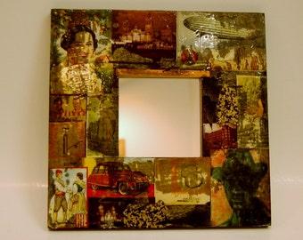 Decoupage Mirror Handmade Vintage Artistically Rendered