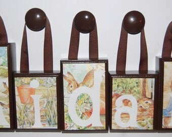 4 Letter Peter Rabbit Large Wood Block Name Set