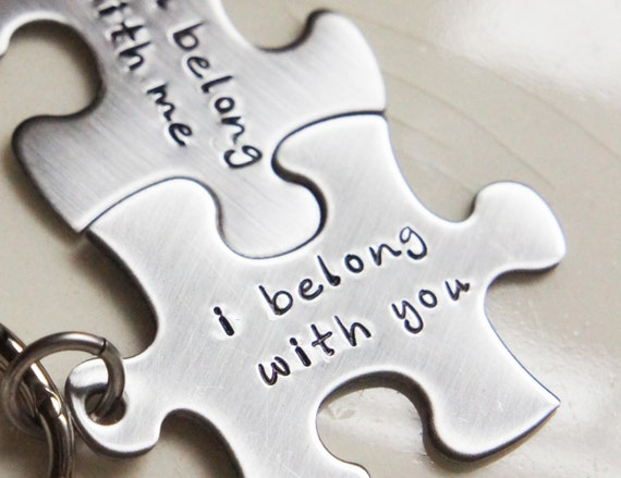 Best Friends Keychain Set I Belong With You Puzzle Piece Wedding Gift ...