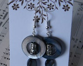 Black Blue Mother of Pearl Silver Tube Bead Accents Handmade Beaded Earrings