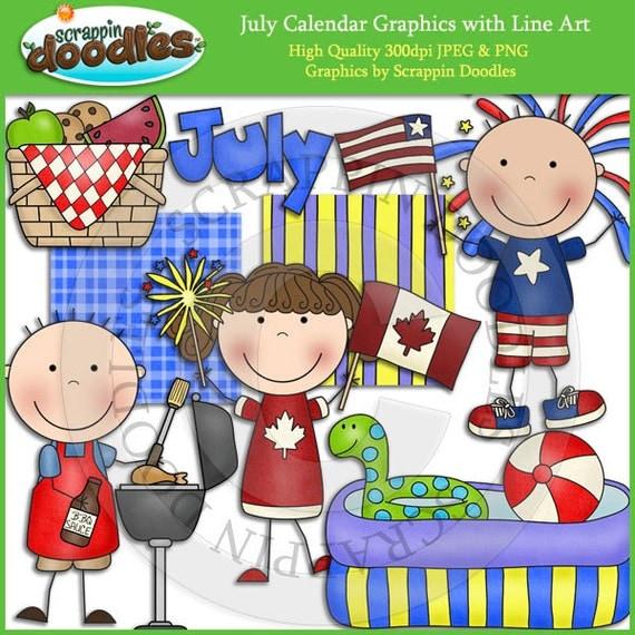 Clip Art Calendar July : July calendar clip art with line download