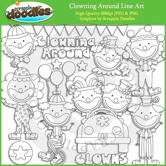 Clowning around line art by scrappindoodles on etsy