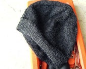 Men's Alpaca Wool Beanie Dark Gray Light Hand Knit Winter Hiking Skiing Snowboarding Gent's Hat (Size One-size - Made to Order)