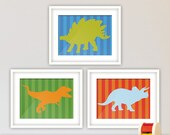Dinosaurs Theme Wall Art, Bedroom Decor, Nursery Decor. Baby Boy, Young Boy, Printed Set of Three with Stripes Background