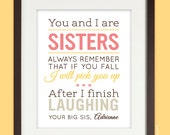 Sisters gift print, Personalized Birthday Gift for Sister, Sisters Quote Art Print with name, humorous, in pink & yellow, UNFRAMED
