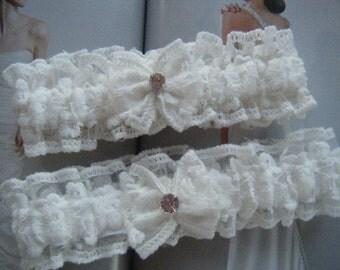 Beautiful White Lace Garter Set