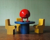 Mid Century Modern Creative Playthings Dollhouse Furniture - Danish Modern Table And Chairs Toy Set