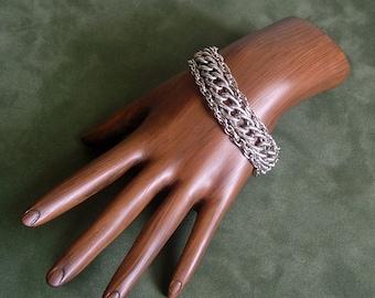 Triple Chain Bracelet Silver Tone Vintage Goldette