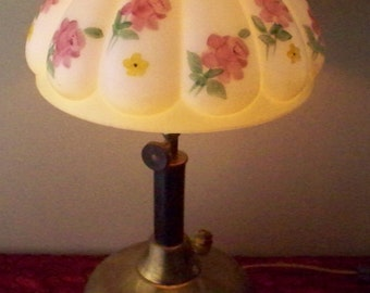 Antique Coleman Gas Lamp Converted To Electric  Painted Roses Glass Shade Brass Base Farm Chic Decor