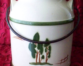 Vintage Milk Can Cookie Jar Pottery With Metal Handle Milk Pail  White and Green Country Kitchen Cottage Kitchen