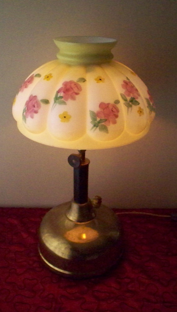 Antique Coleman Gas Lamp Converted To Electric Painted Roses