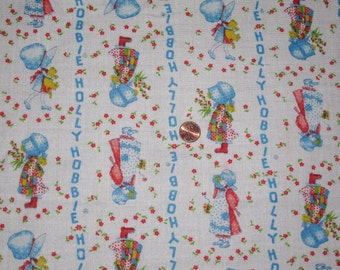 Vintage Holly Hobbie Cotton Flannel Fabric 1 & 3/4 yard.