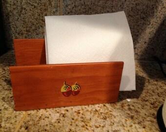 Wooden  Napkin or envelope holder ACORN handpainted on front vintage rustic country look