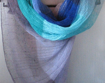 Linen Scarf Linen Clothing Scarves for Women Knit Scarf Infinity Scarf Blue Azure Turquoise Striped Plaid Scarf Women Shawl Womens Scarves
