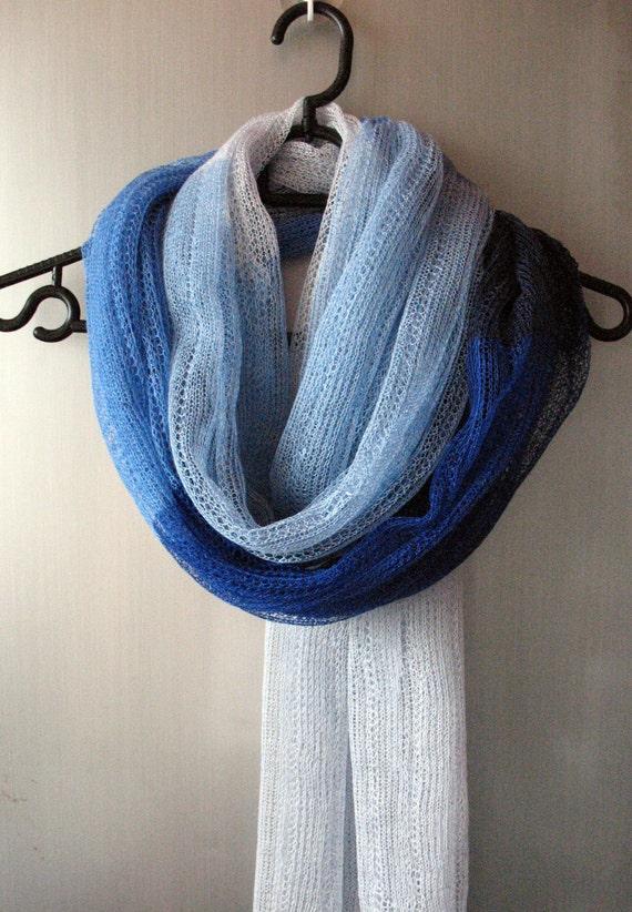 Linen Scarf Shawl Wrap Stole azure cornflower blue - Multicolored, Light, Transparent
