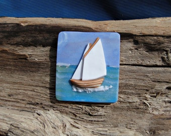 Sail Boat Standing Lug Brooch or Pendant Shetland Polymer Clay Blue Ocean