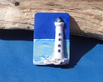 Brooch or Pendant or Plain Back Picture Lighthouse Seaside Waves Polymer Clay Blue Ocean