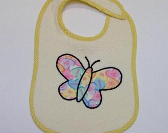 ButterflyToddler Bib - Conversation Heart Butterfly Applique Cream Terrycloth Toddler Bib