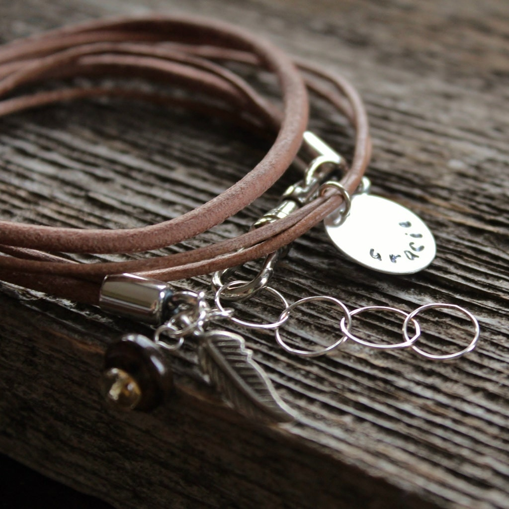 personalized leather silver wrap name bracelet