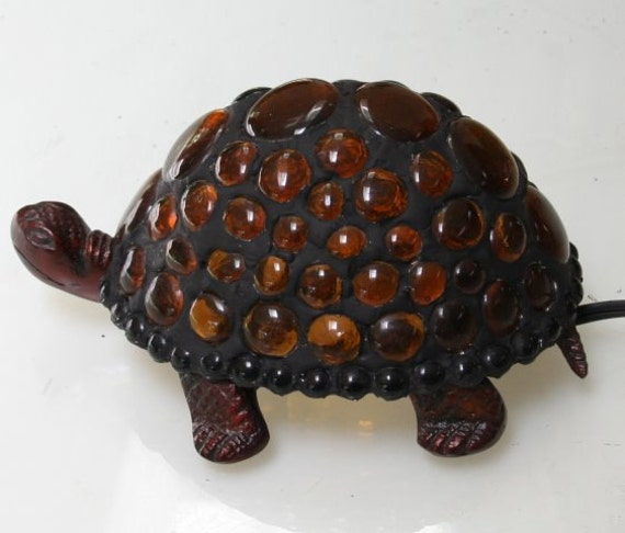 Lighted Turtle Shell with Stained Glass Nuggets