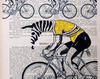 PELOTON  tour de france zebra on bicycle giclee print poster mixed media painting illustration