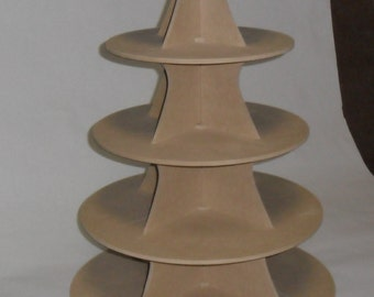 5 Tier Round or Scallop Cupcake Stand Wood mdf / DIY / Wedding / Reusable