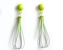 Ombre drop cage earrings, neon green to grey gradation, dome posts, whisk shape, dome posts, wire work simple tear drop earrings 50% OFF