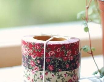 Decorative Adhesive Fabric Antique Flower Pattern Masking Tape