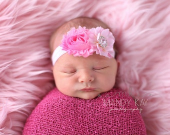 Infant headband. Pink baby girl Headbands..baby headbands..Light Pink Headband..Baby Hairbows. baby hair accessories