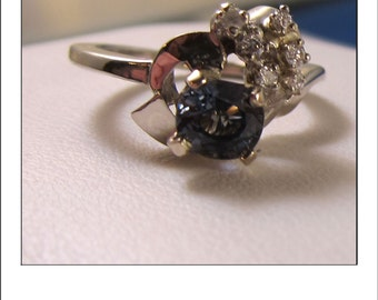 Vintage 14k Aqua Blue Spinel Diamond Dinner or Engagement Ring