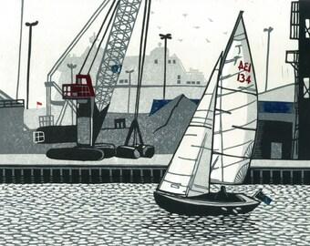 Poole Quay, signed original linocut print, edition of 25 - contemporary fine art