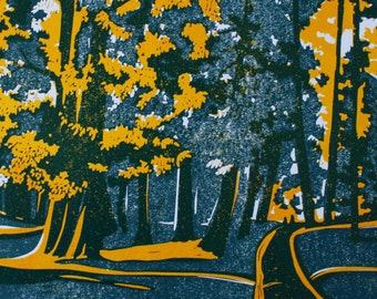 Bournemouth Gardens, signed original linocut print, yellow & grey TP