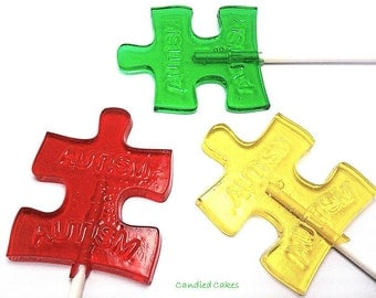 12 AUTISM AWARENESS LOLLIPOPS - Pick Any Color and Flavor