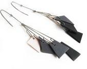 Ombre grey geometric porcelain dangle earrings with stainless steel wire Geometrika