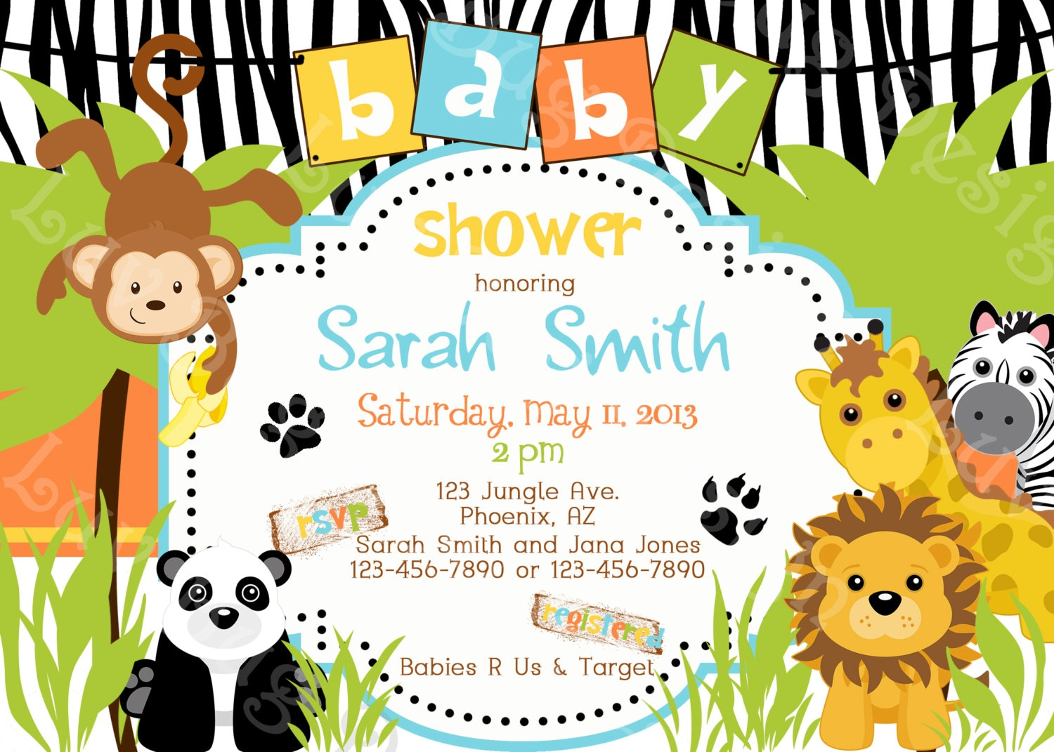 printable jungle or zoo themed baby shower or by luvbugdesign