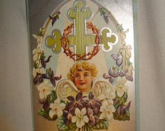 Easter POSTCARD Greetings - Cherub Angel & Cross - 1900's Embossed Easter Lily Series POSTCARD