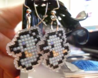Horsea Cross Stitched Pokemon Earings