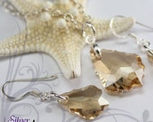 """Swarovski Crystal , 925 Sterling Silver - Baroque Earrings and Pendant Set with 16"""" Chain - Crystal Golden Shadow CSA009"""