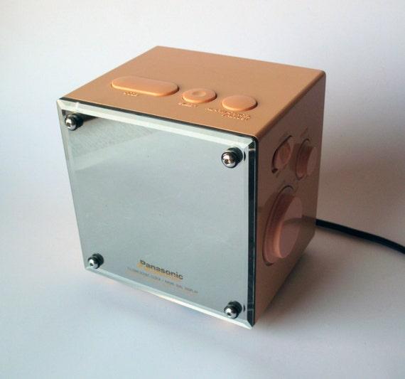 Vintage Panasonic RC-58 Mirrored Cube Digital Alarm Clock Radio