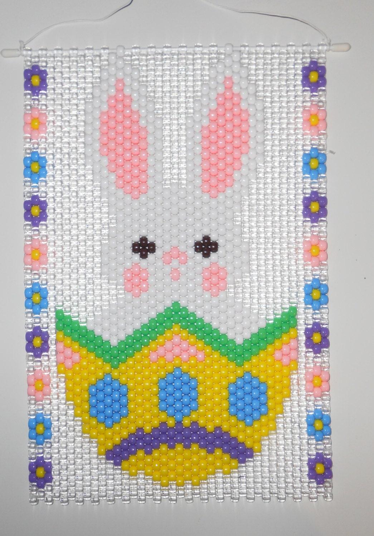handmade easter egg bunny beaded banner with cord hanger