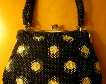 Vintage 60's-70's Black Beaded Purse Kimono Bag w/ Floral Pattern - Double Handles - VG Condition.