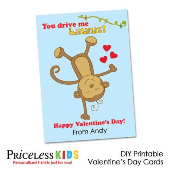 Art culos similares a Mono para imprimir tarjeta de San Valent n – Monkey Valentine Cards