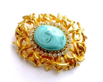 Castlecliff Aqua & Gold Brooch with Rhinestones Retro Mad Men Glam Couture Jewelry